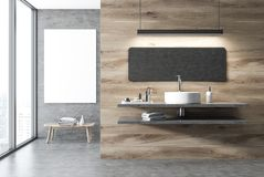 Concrete and wooden bathroom interior, sink. Concrete and wooden wall bathroom interior with a concrete floor, a loft window, a white sink and a poster. 3d vector illustration