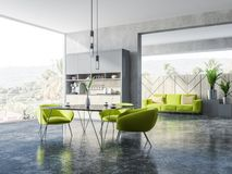 Concrete and wooden dining room, green armchairs Stock Illustration
