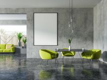 Concrete and wooden dining room, poster Stock Illustration