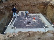 Concrete work on foundation Stock Photos