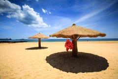 Concreted como parasol de la seta en la playa foto de archivo