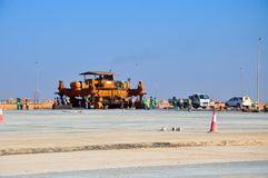 Concreting on the airport site. Concreting machine on the site Stock Photo