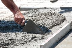Concreting the floor of a new house. Image Royalty Free Stock Image