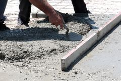 Concreting the floor of a new house. Concreting  the floor of a new house,image Royalty Free Stock Photo