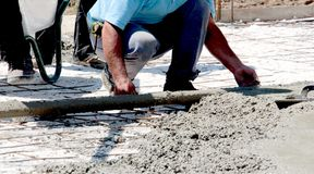 Concreting the floor of a new house. Image Stock Photos