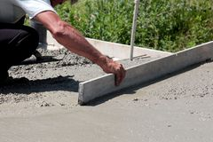 Concreting the floor of a new house. Concreting the floor of a  new house,image Royalty Free Stock Photography