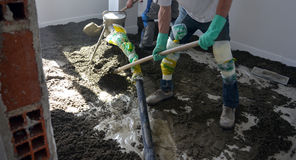 Concreting the floor. Picture of Concreting the floor Royalty Free Stock Photos