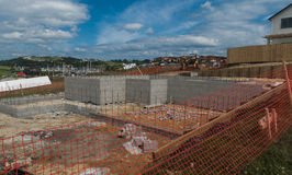 Concreting foundation of the house Stock Image