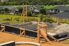 Concreting foundation of the house, New Zealand Royalty Free Stock Photography