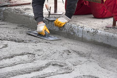 Concreting the road on the bridge Royalty Free Stock Photography