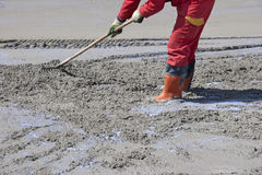 Concreting the road on the bridge Royalty Free Stock Images