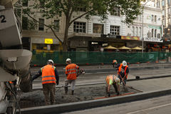 Concreting  tram platform Stock Photo