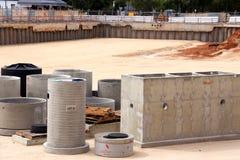 Concreto pré-fabricado no poço do canteiro de obras Fotografia de Stock