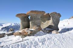 Concrezioni di Babele in montagne di Bucegi Fotografia Stock
