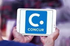 Concur Technologies logo. Logo of Concur Technologies on samsung tablet . Concur Technologies is an American SaaS company, providing travel and expense Royalty Free Stock Photo