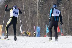 Concurreer tijdens de vrij slag en ski Europese Kopcompetities stock fotografie
