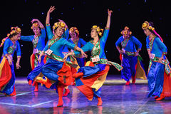 Concurreer voor de kroon-lente van etnische dans lhasa-China royalty-vrije stock afbeeldingen