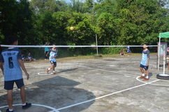 Concurrence de takraw de Sepak Photo libre de droits