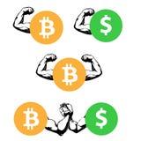 Concurrence entre le bitcoin et le dollar armestling Photo libre de droits