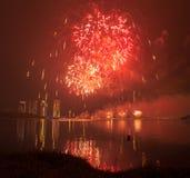 Concurrence internationale 2013 de feux d'artifice de Putrajaya Images libres de droits