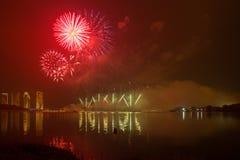 Concurrence internationale 2013 de feux d'artifice de Putrajaya Photos libres de droits