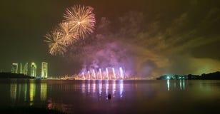 Concurrence internationale 2013 de feux d'artifice de Putrajaya Image libre de droits