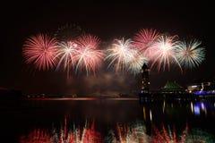 Concurrence internationale 2013 de feux d'artifice de Putrajaya Images stock