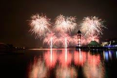 Concurrence internationale 2013 de feux d'artifice de Putrajaya Photographie stock libre de droits
