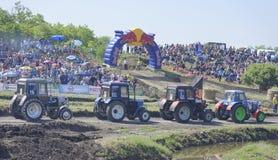 Concurrence pour les tracteurs agricoles sur le pré vert Bizo Image stock