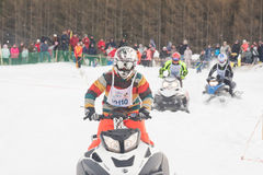 concurrence Snowmobile l'emballage Photographie stock