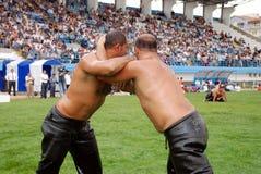 Concurrent de lutteur dans le stade Photos libres de droits