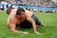 Concurrent de lutteur dans le stade Image libre de droits