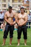 Concurrent de lutteurs dans le stade Image stock