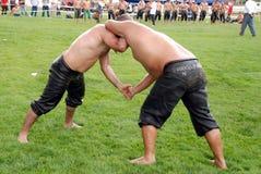Concurrent de lutteurs dans le stade Photo stock