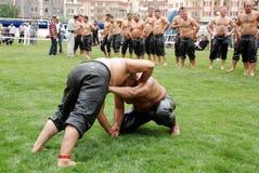 Concurrent de lutteurs dans le stade Image libre de droits