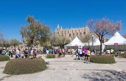 Concurrenten en de kathedraal van La Seu bij de marathon van Vrouwen Royalty-vrije Stock Foto's