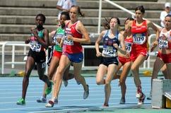 Concurrenten op 1500m vrouwen Stock Foto's