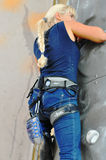 Concurrentie in bergbeklimming Stock Foto