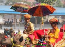 Concurrentie om kamelen bij Pushkar-kameelmarkt te verfraaien Stock Foto's