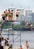 Concurrentie op het strand van Kiev Stock Foto