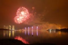 Concurrentie 2013 van het Putrajaya Internationale Vuurwerk Stock Foto
