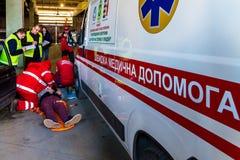 Concurrentie van noodsituatie medische teams in Uzhhorod Stock Afbeelding