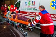 Concurrentie van noodsituatie medische teams in Uzhhorod Royalty-vrije Stock Afbeelding