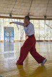 Concurrents en arts martiaux à exécuter dans le gymnase Photo libre de droits
