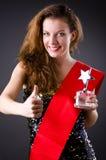 Concurso de belleza que gana de la mujer Foto de archivo
