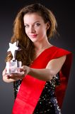 Concurso de belleza que gana de la mujer Foto de archivo libre de regalías