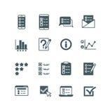 Concurso y lista de pruebas, botón de votación, encuesta, iconos del vector del cuestionario fijados libre illustration