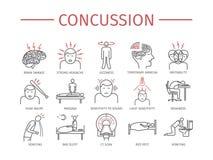 Concussion. Symptoms, Treatment. Line icons set. Vector signs Stock Photo