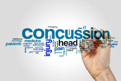 Concussion word cloud on grey background Stock Photography