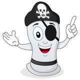 Condón divertido del pirata con el remiendo del ojo ilustración del vector